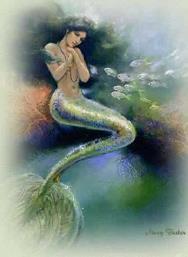A Iara, dentro d'água é como uma sereia.