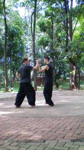 Alunos meus Praticando o Tai-Chi-Tchuen estilo Wu-Chao, em Goiânia, no Bosque dos Buritis.