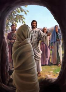 """Concepção artística da ressurreição de Lázaro. Não consigo crer que depois de três dias e já em decomposição, Jesus tenha """"obrigado"""" o Espírito de Lázaro a retornar àquele corpo cujo tempo se tinha esgotado."""