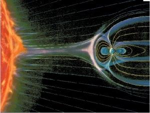 """Eis a Terra sendo bombardeada pelo """"Vento Solar"""". A carga de energias letais que este """"vento"""" traz não permitiria a Vida na Terra nem por um segundo. Mas o magnetismo do planeta desvia o """"Vento Solar"""" e livra o planeta de se tornar tórrido."""