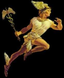 """O mais conhecido """"anjo' intermediário entre os Deuses e o Homem, Mercúrio. Ele veio a se tornar o Exu do Candomblé."""
