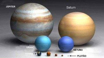 A Terra em comparação com planetas maiores que ela no Sistema Solar.