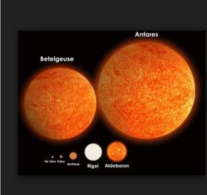 Aldebaran, que parecia grande, é ínfima diante de Betelgeuse e a gigantesca Antares. E a Terra? Onde está?