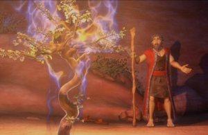 Mitologia Bíblica: Moisés diante da sarsa ardente.