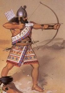 Arqueiro Assírio. A Assíria, consta na História, foi habitada desde o início da Era Paleolítica.