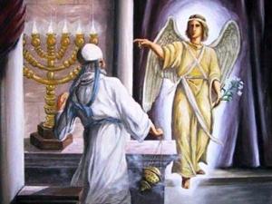Zacarias quase morre de susto ao ver o Arcanjo Gabriel no Santo dos Santos.