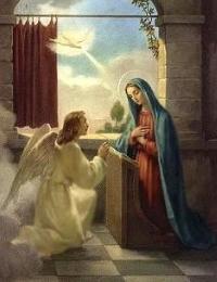 O Arcanjo Gabriel não se ajoelhou diante de Míriam, como mostra aqui o beato em sua pintura.