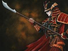 Samurai manejando a naginata.