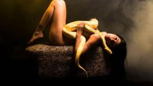 Ela se sentia atraída pelo réptil, embora soubesse que tinha horror ao bicho...