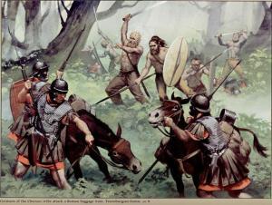 As guerras entre germanos e romanos eram sempre violentas e sangrentas. Ambos eram povos aguerridos.