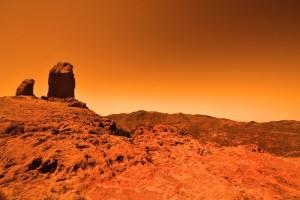 Solo Marciano - terra seca, vermelha e árida.